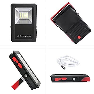 TBTeek Cordless Rechargeable LED Flood Light Outdoor Work Light Camping Fishing Spotlight With Folding Tripod Stand IP65 Waterproof Lampshade Built-in 6600mah Power Bank Black&Red