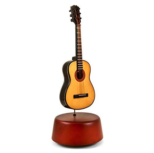 Amazing 18 Note Miniature Acoustic Guitar With Rotating Musical Base - I Left My Heart In San - Miniatures Sf