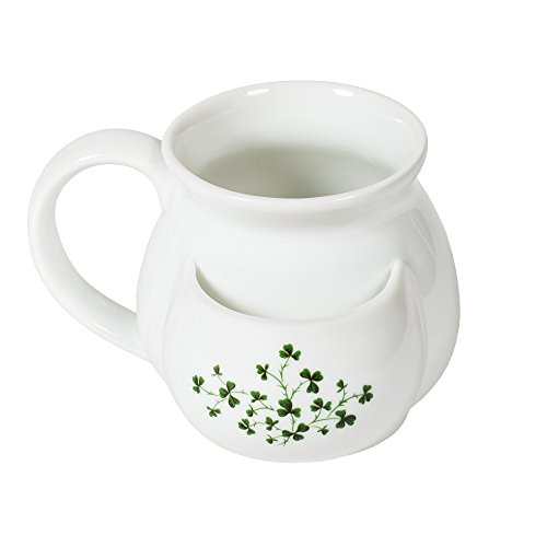 Shamrock Cluster (Cluster Shamrocks 14 Ounce Porcelain Coffee Mug with Teabag Pocket)