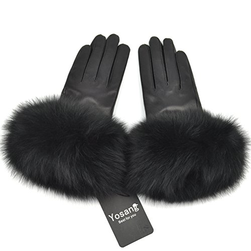 Yosang Women Genuine Lambskin Leather Winter Gloves with Fox Fur Trim Black - Leather Blk Gloves