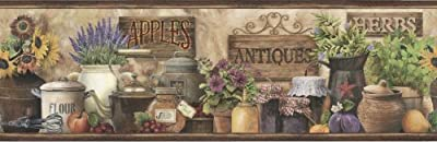 Chesapeake PUR44582B Brittany Brown Herbs Antiques Portrait Wallpaper Border