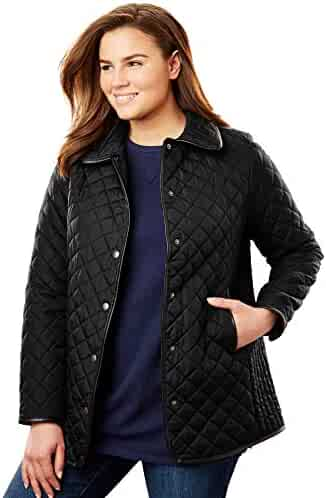 535231b21a2 Woman Within Women s Plus Size Quilted Snap-Front Jacket