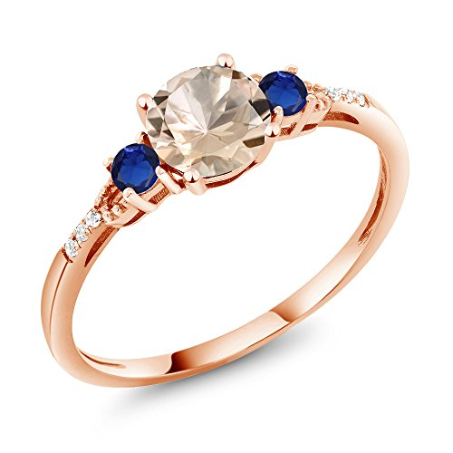 Gem Stone King 0.80 Ct Round Peach Morganite Blue Simulated Sapphire 10K Rose Gold Ring (Size 7) (Gold Rose Sapphire Peach)