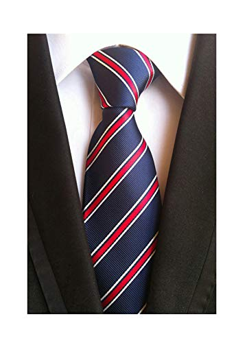 Check Skinny Tie - Men's Classic Navy Blue Red White Striped Jacquard Woven Silk Tie Formal Necktie