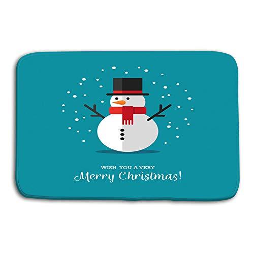- Kitchen Floor Bath Entrance Door Mats Rug Flat Snowman icon Cute Style Winter Symbol Christmas New Year Greeting Card Design Element Drawing Non Slip Bathroom Mats 23.6