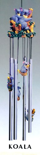 Koala Bear Family Colorful 3d Poly Resin Top 4 Tube Wind Chime Outdoor