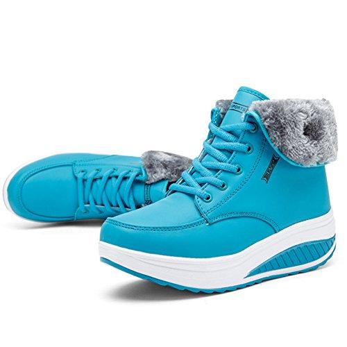Deportivo Minetom Calzado Suave Impermeable Forro Botines Caliente Botas Azul De Antideslizante Con Felpa Mujer Zapatos Invierno Cuña Suela ZZqwaH