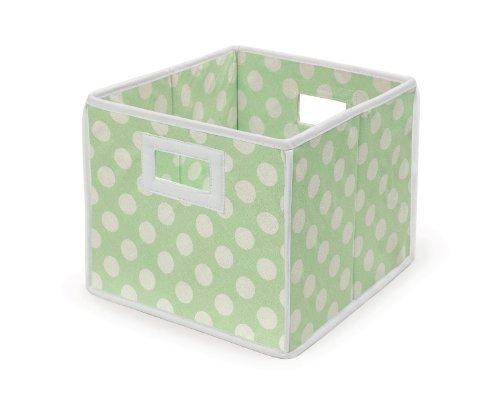Badger Basket Folding Nursery Basket/Storage Cube, Sage Dot by Badger Basket [並行輸入品]   B014U7BLGK