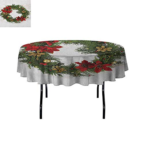 DouglasHill Christmas Waterproof Anti-Wrinkle no Pollution Floral Wreath Cultural Design Poinsettia Blossoms Holly Pine Cone Branches Table Cloth D67 Inch Green Red Gold