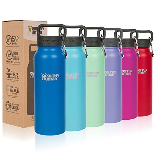 Healthy Human Classic Collection Insulated Stainless Steel Water Bottle Stein - Cold 24 Hours/Hot 12 Hours - Double Walled Vacuum Flask - 32 oz Bahama (Stainless Life Steel)