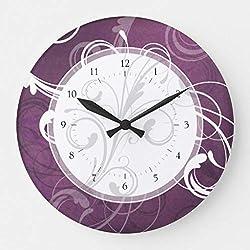 McC538arthy 15 Inch Wooden Wall Clock Purple Grunge Damask Elegant Swirls Wall Decor for Kitchen, Living Room, Bedroom, Office
