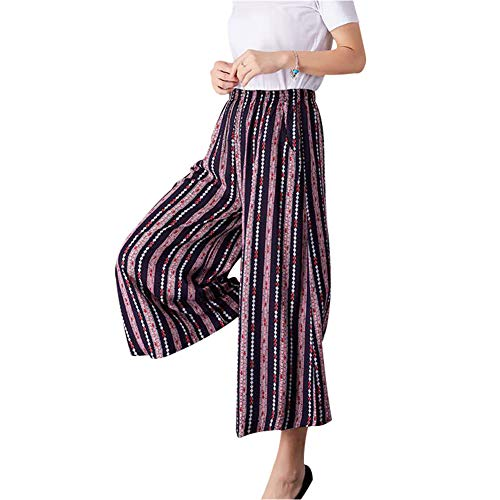NJunicorn Uncle Women's Wide Leg Casual Gaucho Pants Elastic Waist Cotton&Linen Floral Culottes Palazzo Trousers (36, 6/8) - Floral Wide Leg Trouser