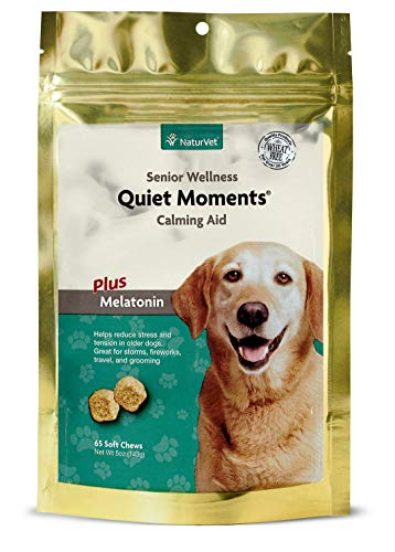 NaturVet - Senior Wellness Quiet Moments Calming Aid for Dogs - Plus Melatonin - Helps Reduce Stress & Promote Relaxation - Great for Storms, Fireworks, Separation, Travel & Grooming - 65 Soft Chews