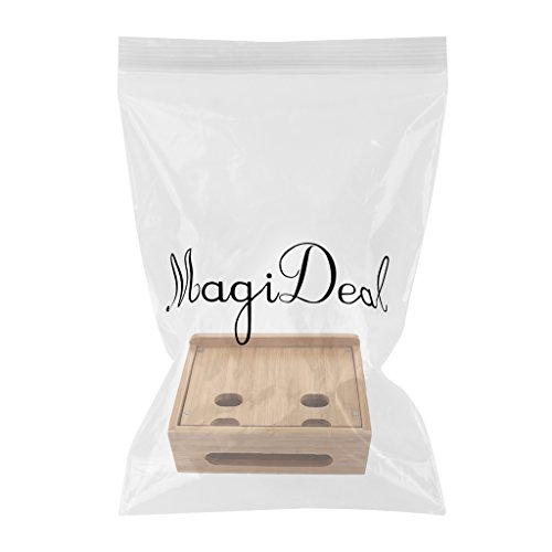MagiDeal Cord Organizer, 4 Slots Bamboo Stand Multi-device Desktop Cords Organizer Dock Charging Station Holder with Built-in Insert Slots for Smartphones, Tablets and Laptops by MagiDeal (Image #2)'