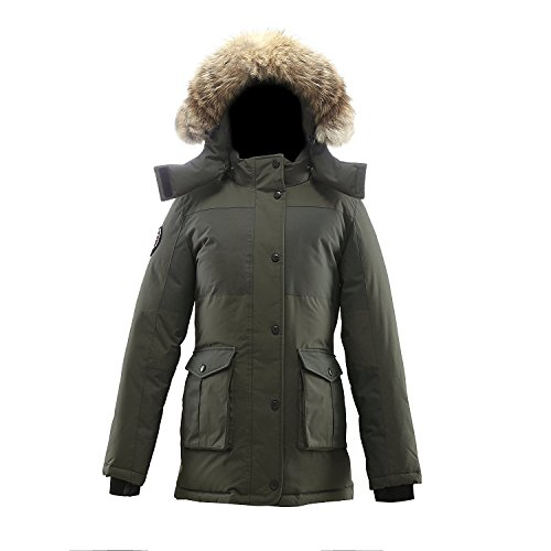 Triple F.A.T. Goose Madigan Womens Hooded Arctic Parka with Real Coyote Fur (Small, Olive) (Canadian Goose Clothing)