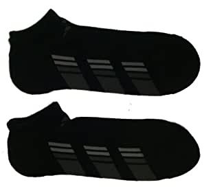 Adidas Men's No Show Socks, Shoe Size 6-12, Black, (Pack of 2)