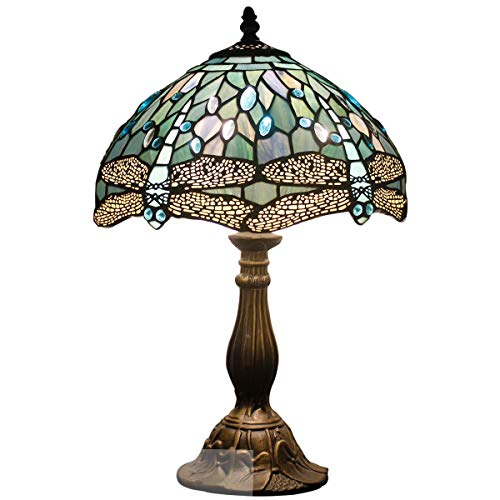Tiffany Lamp Sea Blue Stained Glass and Crystal Bead Dragonfly Style Table Lamps Height 18 Inch for Coffee Table Living Room Antique Desk Beside Bedroom (Tiffany Tables)
