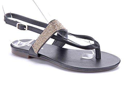 Schuhtempel24 Damen Schuhe Zehentrenner Sandalen Sandaletten Schwarz Flach 1 cm T1SVMu
