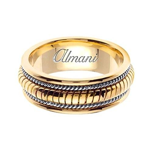 Almani 14k Gold 8mm Handmade Two Tone Wedding Ring 110 – Size 14