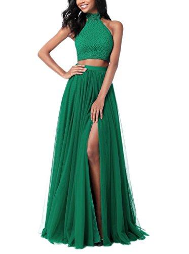 Womens Plus Size Two Piece Dress Green - 5