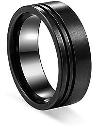 Black Zirconium Ring Men's Wedding Band 2 offset slices...