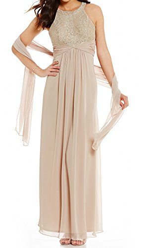 Jessica Howard Women's Petite Lace Glitter Sheath Dress Beige 14P