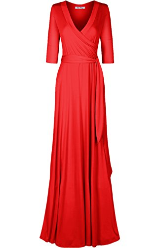 - Bon Rosy Women's #MadeInUSA 3/4 Sleeve V-Neck Solid Maxi Wrap Dress Summer Wedding Guest Party Bridal Baby Shower Maternity Nursing Red L(DJ51504-S)