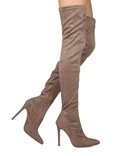 Liliana DB54 Women Suede Pointy Toe Thigh High Single Sole Stiletto Boot Taupe Faux Suede Fh2Nio