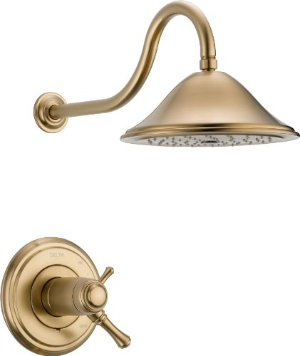 Delta Faucet Cassidy 17T Series Dual-Function Shower Trim Kit with Single-Spray Touch-Clean Shower Head, Champagne Bronze T17T297-CZ (Valve Not ()