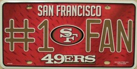 San Francisco 49ers #1 Fan NFL Embossed Aluminum Automotive Novelty License Plate (1 Fan Sign)