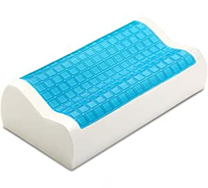 PharMeDoc Contour Memory Foam Pillow w/ Cooling Gel Technology - Orthopedic Curved Support Pillow Design for Maximum Comfort and Pain Relief - Hypoallergenic Material - Removable Pillow Cover