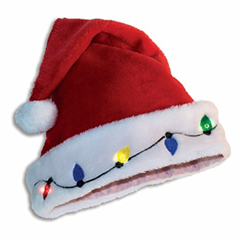 Forum Novelties Christmas Holiday Light up Santa Hat Holiday Santa Hat