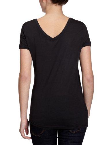 Only - Camiseta con cuello de pico para mujer Negro