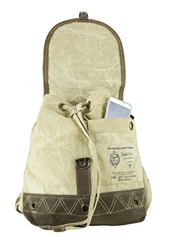 With Bag Sunsa Handbag Of Backpack Leather 51713 Shoulder Women's Vintage Canvas qEwE8HO