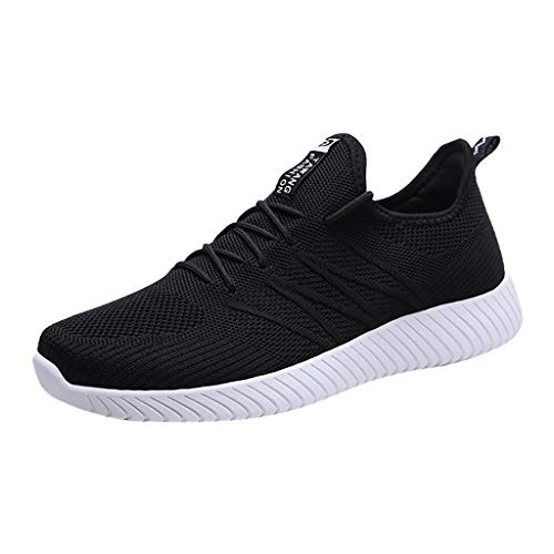(TANGSen Men's Breathable Woven Outdoor Sneakers Shoes Casual Fashion Wild Mesh Youth Running Lightweight Sport Shoes Black)