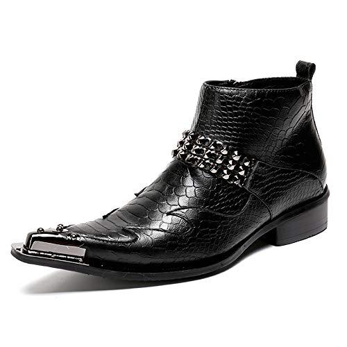 3e6776ad ¥*Shoes Hombres Botines De Cuero Puntiagudo Negocios PatróN De Cocodrilo  Botas La Fiesta De
