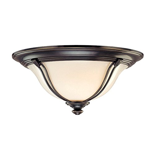 Hudson Valley Lighting Carrollton 3-Light Flush Mount - Old Bronze Finish with Opal Glossy Glass Shade