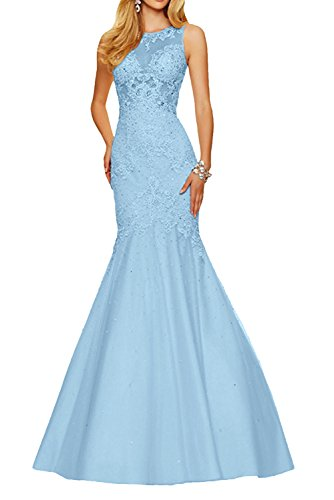 Spitze Marie Langes Ballkleider Braut Promkleider Meerjungfrau Champagner Damen mit Blau Abendkleider La wTqzdw