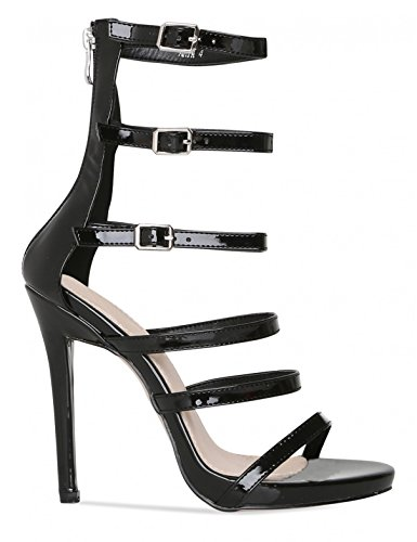 LAMODA Womens Strappy Stiletto Heels in Patent PU Black S2HmmYEe