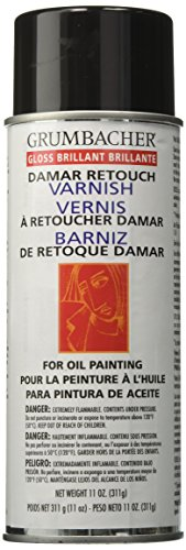 - Grumbacher Damar Retouch Gloss Varnish Spray for Oil Paintings, 11 oz. Can, #544