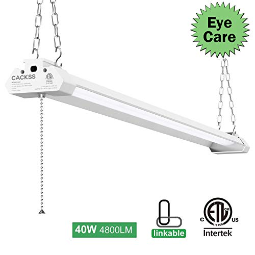 Professional LED Shop Light, Super Bright, Eyesight Protection, 4FT 40W 4800LM 5000K, ETL Listed, CACKSS Commercial Grade Light, Pack 1