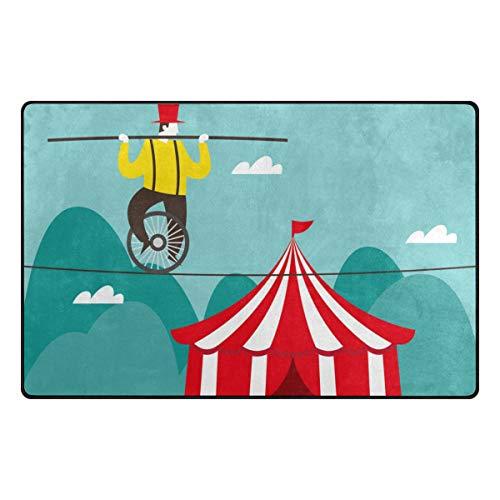 Jojogood Circus Tightrope Walker Area Rug Carpet Non-Slip Floor Mat Doormats for Living Room Bedroom 60 x 39 -