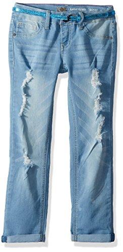 LEE Big Girls' Belted Skinny Jean, Blue Surf, 8 by LEE