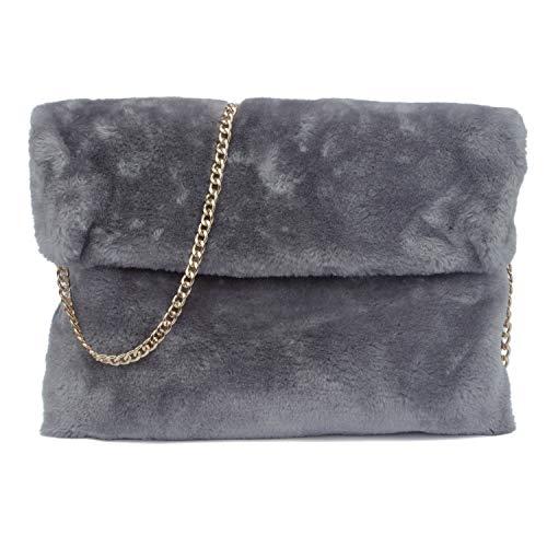 Classical Soft Envelope Faux Fur Bag Clutch Bag Crossbody Purse with Chain Strap (Dark -