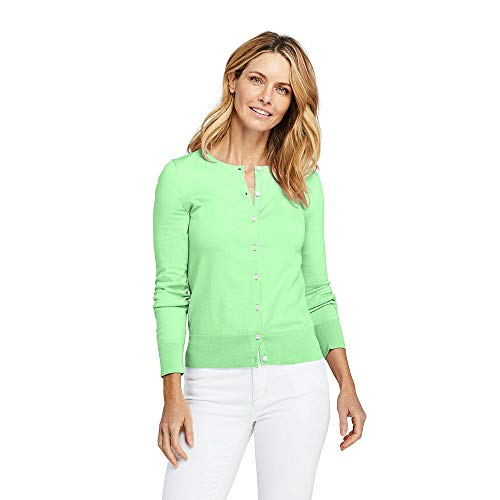 - Lands' End Women's Petite Supima Cotton Cardigan Sweater, XS, Green Ash