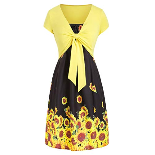 Dresses for Women Casual Summer Short Sleeve Bow Knot Cover Up Tops Sunflower Print Strap Midi Dress Pleated Sun Dresses (Small, Z-1 Yellow Black)