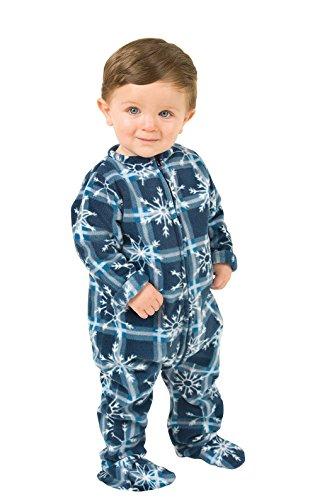 PajamaGram Infant Blue Snowflake Fleece Footie Pajamas, Blue, 6 months