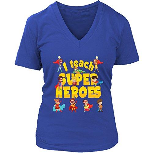 I Teach Superheroes Women V-Neck Shirt Plus Size XL - 4XL VnSupertramp Apparel Royal Blue]()