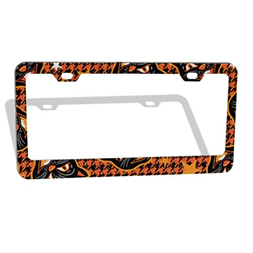 LEISINONE Halloween Cats and Hounds-Tooth 2pcs Aluminium Oxide License Plate Cover Waterproof Car Plate Tag Frame Bumper Guard,Custom US 50 State General License Plate Frame Round/Flat Holes]()