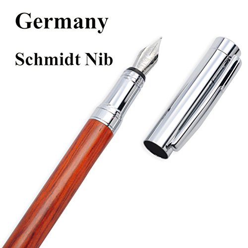 LACHIEVA Luxury Rosewood Fountain Pen with Elegant Wood Box Pack Germany Schmidt Nib- Perfect for Gifts